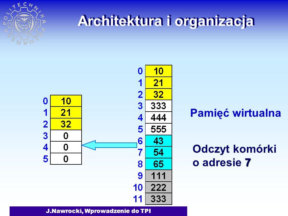 J.Nawrocki, Wprowadzenie do TPI Architektura i organizacja Pamięć wirtualna 7 Odczyt komórki o adresie 7