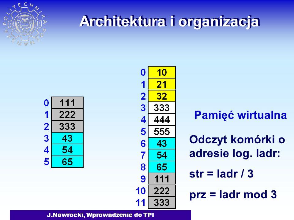 J.Nawrocki, Wprowadzenie do TPI Architektura i organizacja Pamięć wirtualna Odczyt komórki o adresie log.