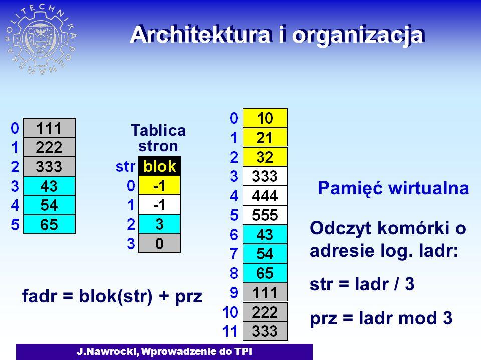 J.Nawrocki, Wprowadzenie do TPI Architektura i organizacja Pamięć wirtualna Tablica stron fadr = blok(str) + prz Odczyt komórki o adresie log.