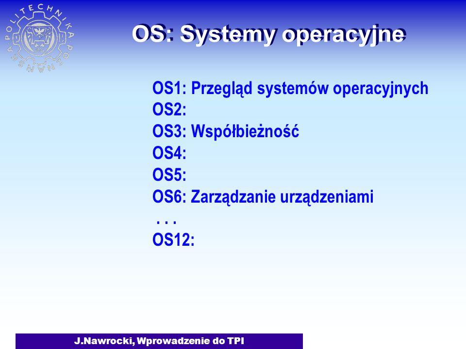 J.Nawrocki, Wprowadzenie do TPI OS: Systemy operacyjne OS1: Przegląd systemów operacyjnych OS2: OS3: Współbieżność OS4: OS5: OS6: Zarządzanie urządzeniami...