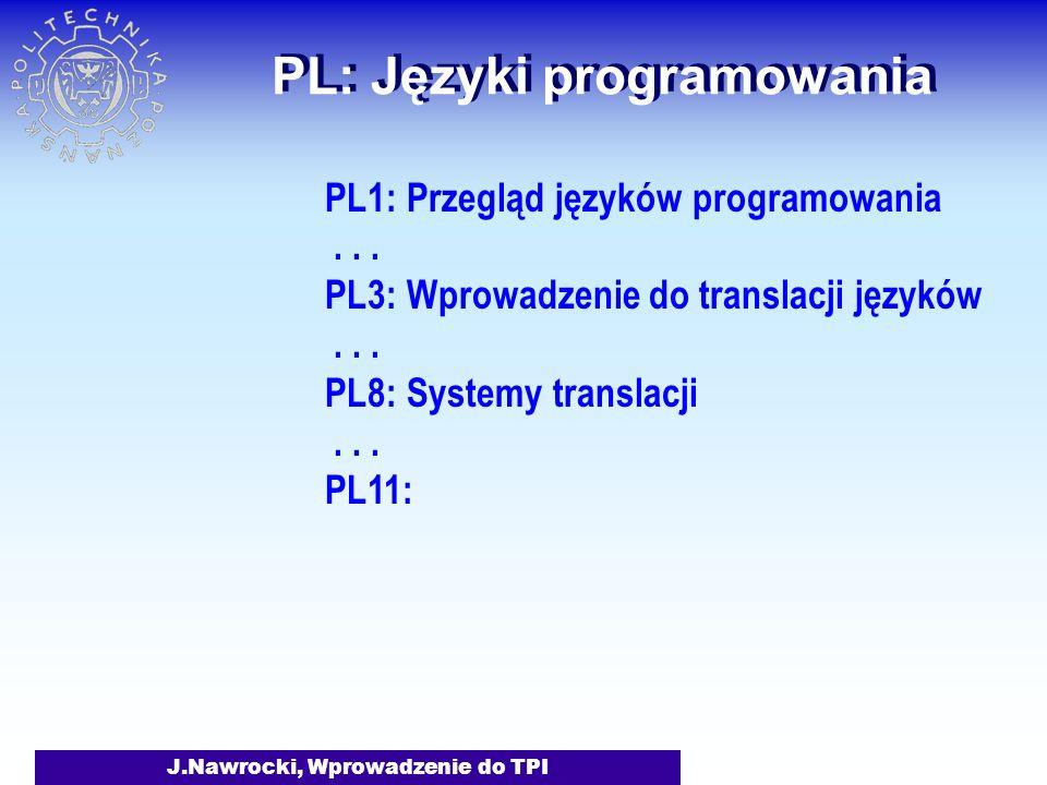 J.Nawrocki, Wprowadzenie do TPI PL: Języki programowania PL1: Przegląd języków programowania...