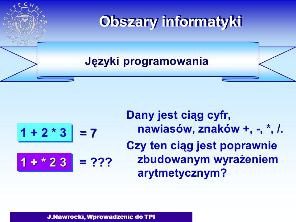 J.Nawrocki, Wprowadzenie do TPI Obszary informatyki Dany jest ciąg cyfr, nawiasów, znaków +, -, *, /.