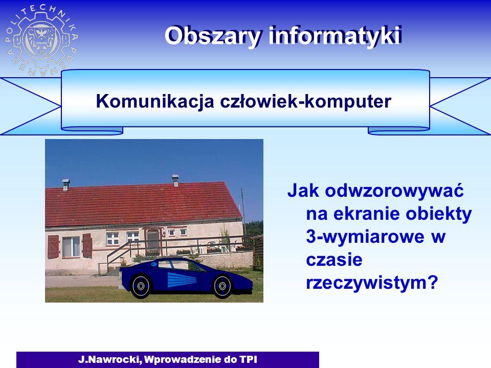 J.Nawrocki, Wprowadzenie do TPI Obszary informatyki Jak odwzorowywać na ekranie obiekty 3-wymiarowe w czasie rzeczywistym.