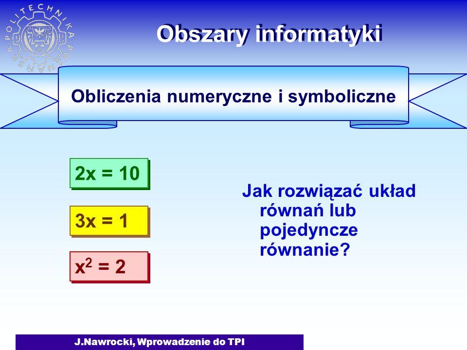J.Nawrocki, Wprowadzenie do TPI Obszary informatyki Jak rozwiązać układ równań lub pojedyncze równanie.