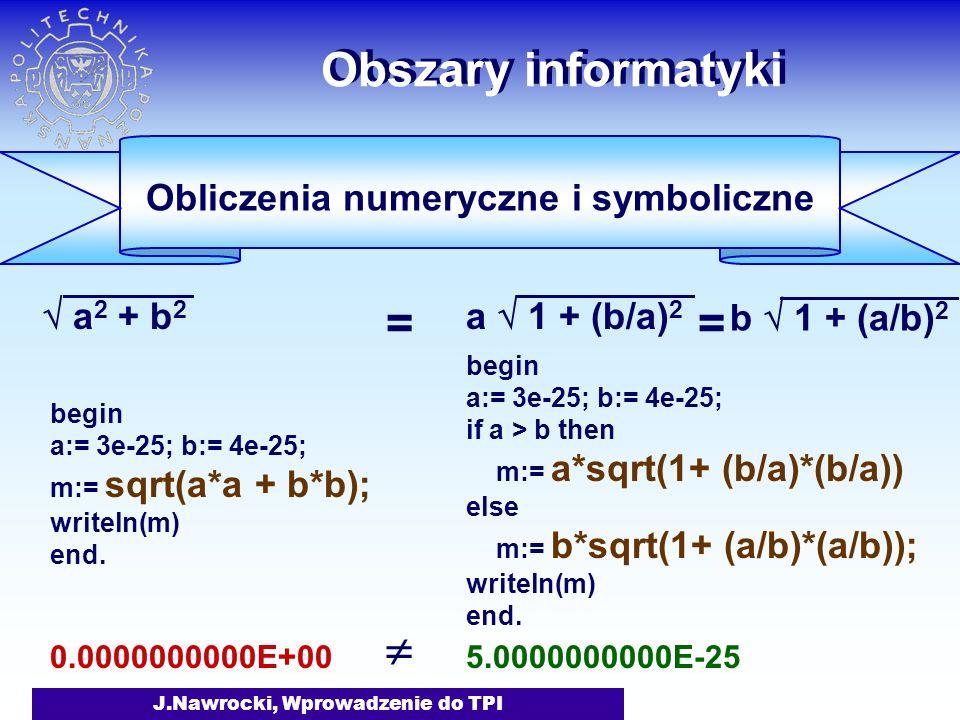 J.Nawrocki, Wprowadzenie do TPI Obszary informatyki Obliczenia numeryczne i symboliczne a 2 + b 2 a 1 + (b/a) 2 begin a:= 3e-25; b:= 4e-25; m:= sqrt(a*a + b*b); writeln(m) end.
