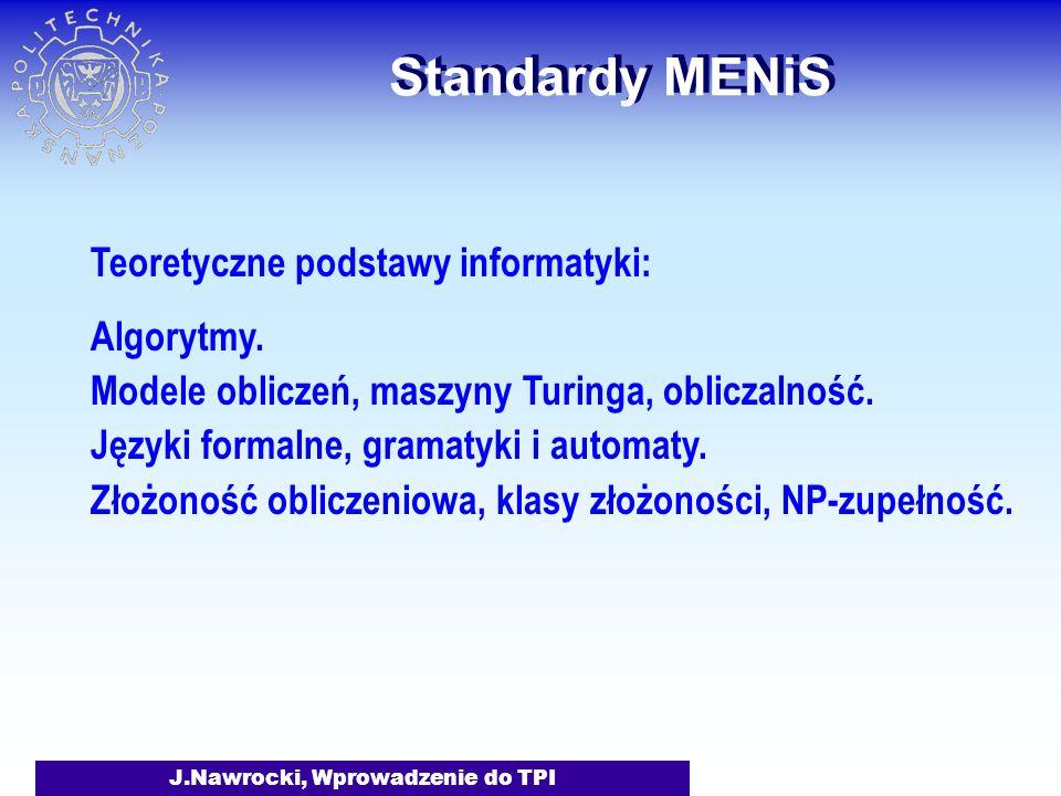J.Nawrocki, Wprowadzenie do TPI Standardy MENiS Teoretyczne podstawy informatyki: Algorytmy.