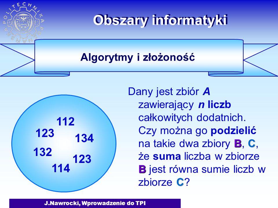 J.Nawrocki, Wprowadzenie do TPI Obszary informatyki 123 132 112 134 123 114 Algorytmy i złożoność