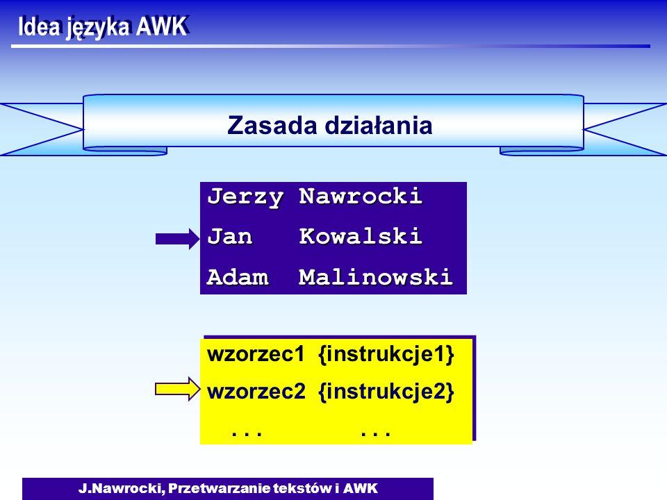 J.Nawrocki, Przetwarzanie tekstów i AWK Idea języka AWK Zasada działania wzorzec1 {instrukcje1} wzorzec2 {instrukcje2}...... wzorzec1 {instrukcje1} wz
