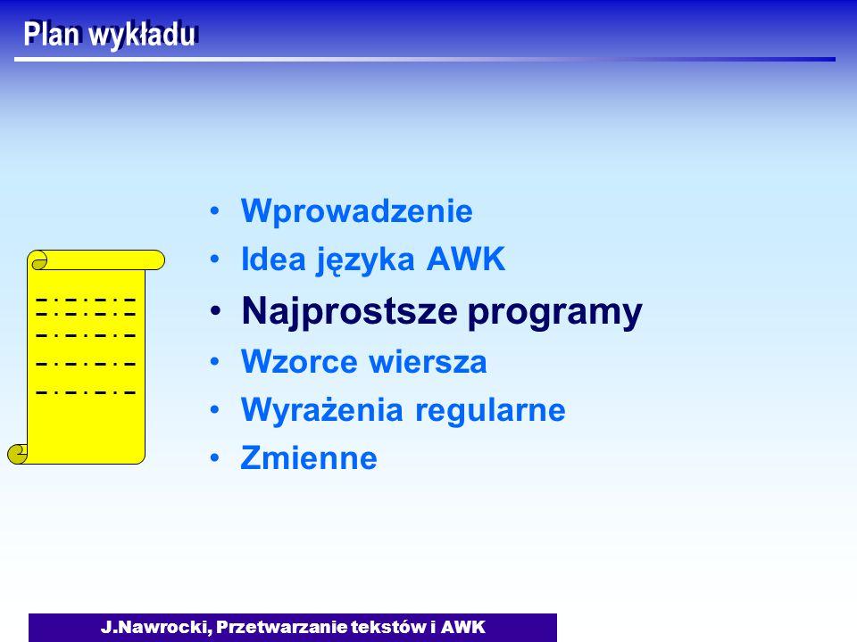 J.Nawrocki, Przetwarzanie tekstów i AWK Plan wykładu Wprowadzenie Idea języka AWK Najprostsze programy Wzorce wiersza Wyrażenia regularne Zmienne