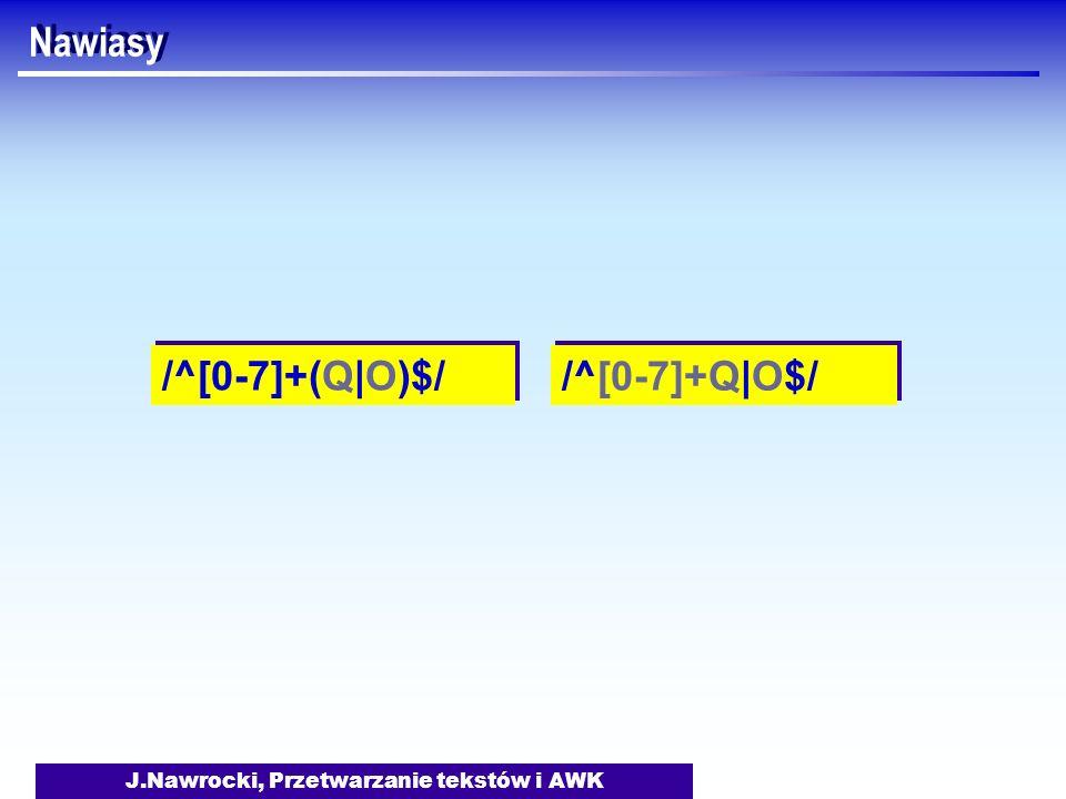 J.Nawrocki, Przetwarzanie tekstów i AWK Nawiasy /^[0-7]+(Q|O)$/ /^[0-7]+Q|O$/