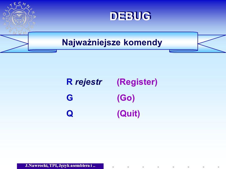 J.Nawrocki, TPI, Język asemblera i.. DEBUG Najważniejsze komendy R rejestr (Register) G (Go) Q (Quit)