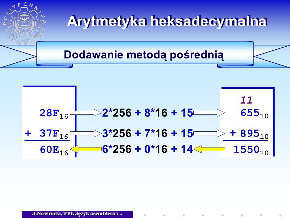 J.Nawrocki, TPI, Język asemblera i.. Arytmetyka heksadecymalna Dodawanie metodą pośrednią 28F 16 + 37F 16 28F 16 + 37F 16 + + 1550 10 11 2*256 + 8*16