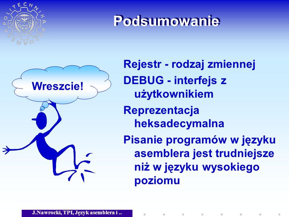 J.Nawrocki, TPI, Język asemblera i.. Podsumowanie Rejestr - rodzaj zmiennej DEBUG - interfejs z użytkownikiem Reprezentacja heksadecymalna Pisanie pro