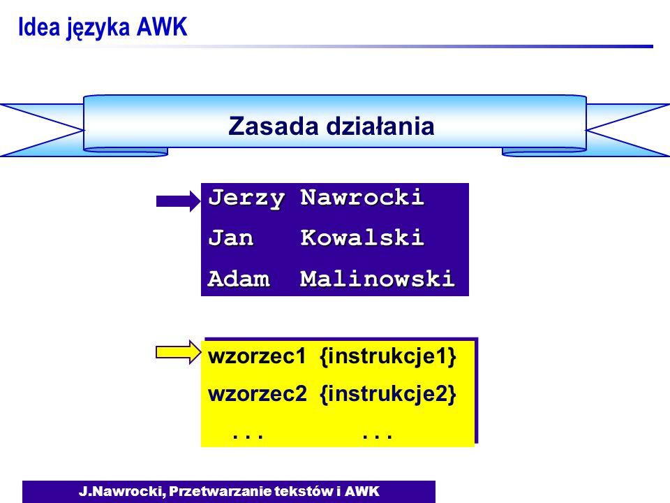 J.Nawrocki, Przetwarzanie tekstów i AWK Idea języka AWK Zasada działania wzorzec1 {instrukcje1} wzorzec2 {instrukcje2}......