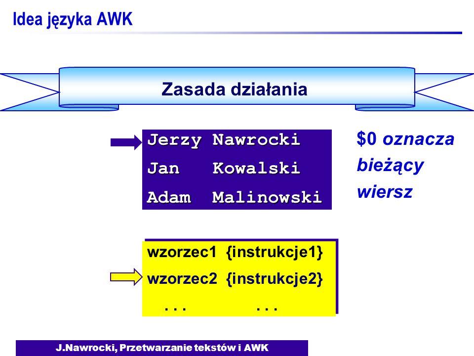 J.Nawrocki, Przetwarzanie tekstów i AWK Zmienne {total= total + NF;} END {print Pol: , total; print Wierszy: , NR;} {total= total + NF;} END {print Pol: , total; print Wierszy: , NR;} Reguly sitwy ------------ Zero do zera A bedzie kariera.