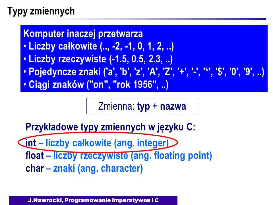 J.Nawrocki, Programowanie imperatywne i C Typy zmiennych Komputer inaczej przetwarza Liczby całkowite (.., -2, -1, 0, 1, 2,..) Liczby rzeczywiste (-1.5, 0.5, 2.3,..) Pojedyncze znaki ( a , b , z , A , Z , + , - , * , $ , 0 , 9 ,..) Ciągi znaków ( on , rok 1956 ,..) Zmienna: typ + nazwa Przykładowe typy zmiennych w języku C: int – liczby całkowite (ang.