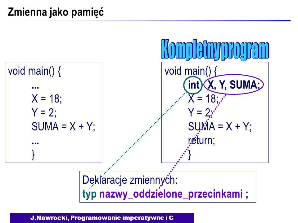 J.Nawrocki, Programowanie imperatywne i C Zmienna jako pamięć void main() {... X = 18; Y = 2; SUMA = X + Y;... } void main() { int X, Y, SUMA; X = 18;