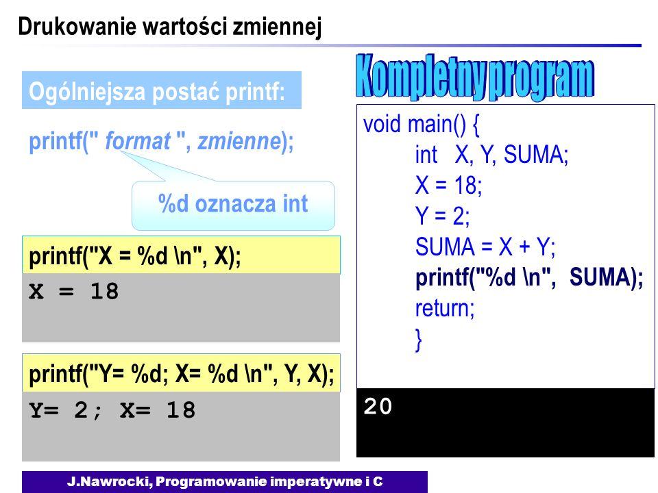J.Nawrocki, Programowanie imperatywne i C Drukowanie wartości zmiennej printf(