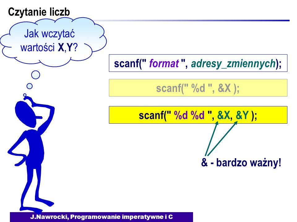J.Nawrocki, Programowanie imperatywne i C Czytanie liczb Jak wczytać wartości X, Y ? scanf(