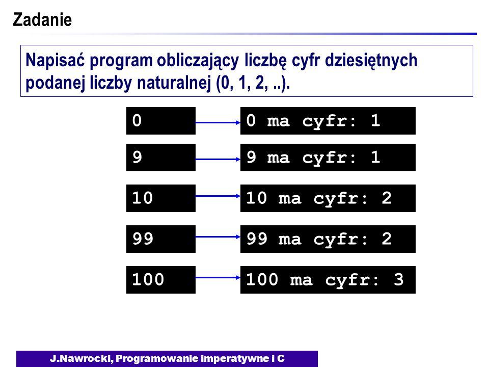 J.Nawrocki, Programowanie imperatywne i C Zadanie Napisać program obliczający liczbę cyfr dziesiętnych podanej liczby naturalnej (0, 1, 2,..). 0 9 10