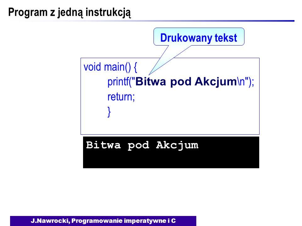 J.Nawrocki, Programowanie imperatywne i C Program z jedną instrukcją void main() { printf( Bitwa pod Akcjum \n ); return; } Drukowany tekst Bitwa pod Akcjum