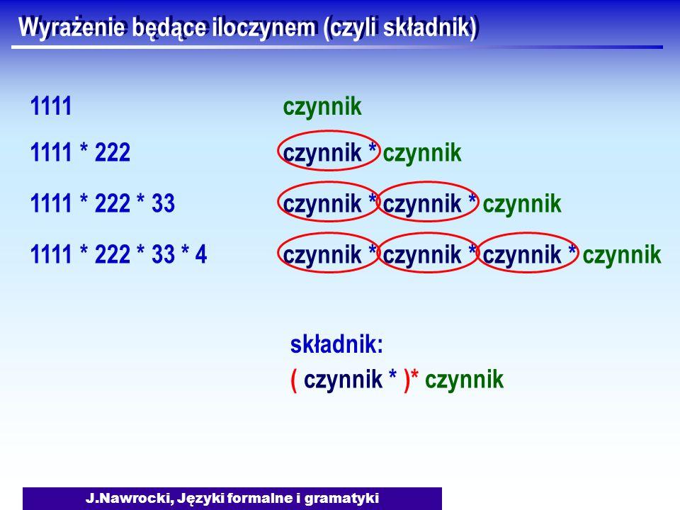J.Nawrocki, Języki formalne i gramatyki Wyrażenie będące iloczynem (czyli składnik) 1111 1111 * 222 1111 * 222 * 33 1111 * 222 * 33 * 4 czynnik czynni