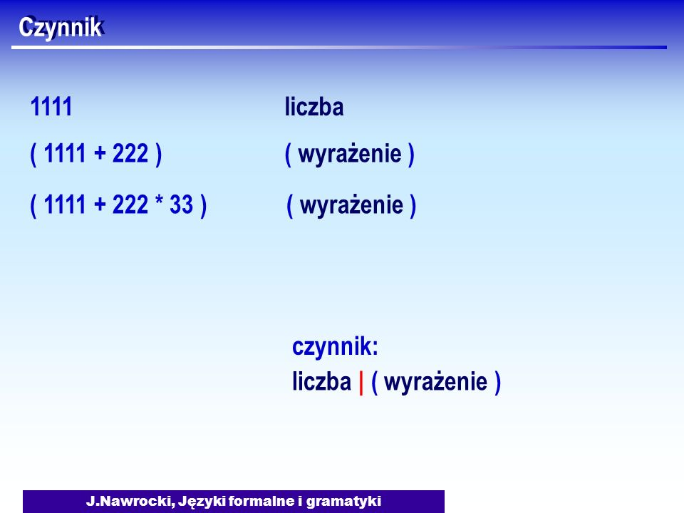 J.Nawrocki, Języki formalne i gramatyki Czynnik 1111liczba liczba | ( wyrażenie ) czynnik: ( 1111 + 222 ) ( 1111 + 222 * 33 ) ( wyrażenie )