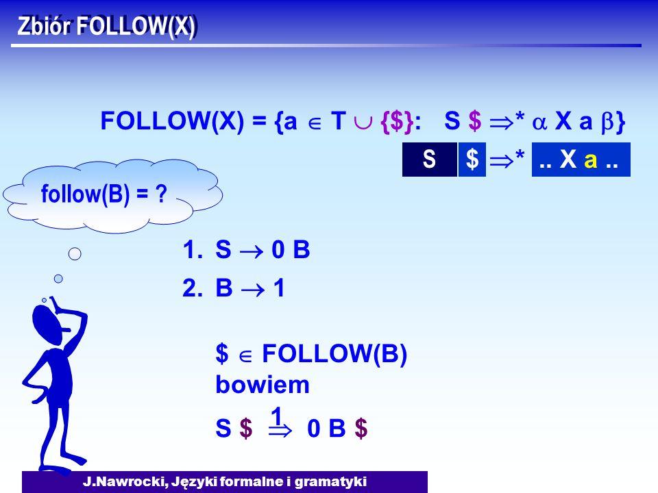 J.Nawrocki, Języki formalne i gramatyki Zbiór FOLLOW(X) FOLLOW(X) = {a T {$}: S $ * X a } 1.S 0 B 2.B 1 follow(B) = ? $ FOLLOW(B) bowiem S *.. X a..$