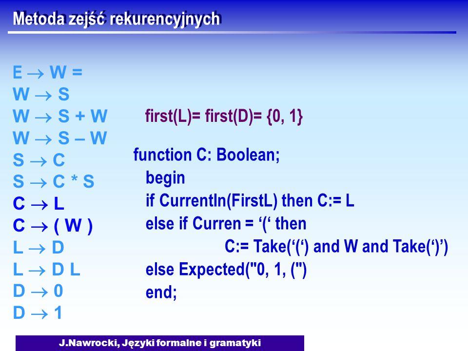 J.Nawrocki, Języki formalne i gramatyki Metoda zejść rekurencyjnych E W = W S W S + W W S – W S C S C * S C L C ( W ) L D L D L D 0 D 1 function C: Bo