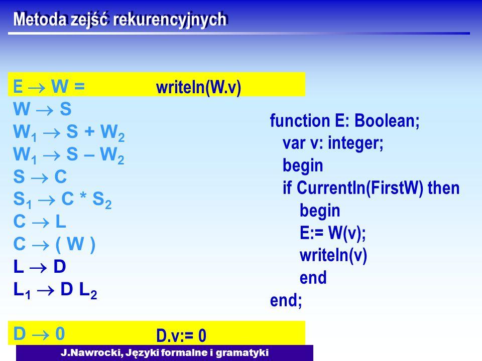 J.Nawrocki, Języki formalne i gramatyki writeln(W.v) D.v:= 0 Metoda zejść rekurencyjnych E W = W S W 1 S + W 2 W 1 S – W 2 S C S 1 C * S 2 C L C ( W )