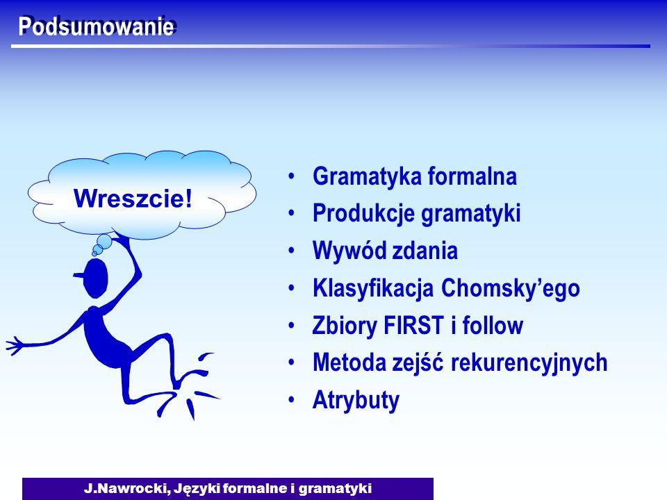 J.Nawrocki, Języki formalne i gramatyki Podsumowanie Wreszcie! Gramatyka formalna Produkcje gramatyki Wywód zdania Klasyfikacja Chomskyego Zbiory FIRS