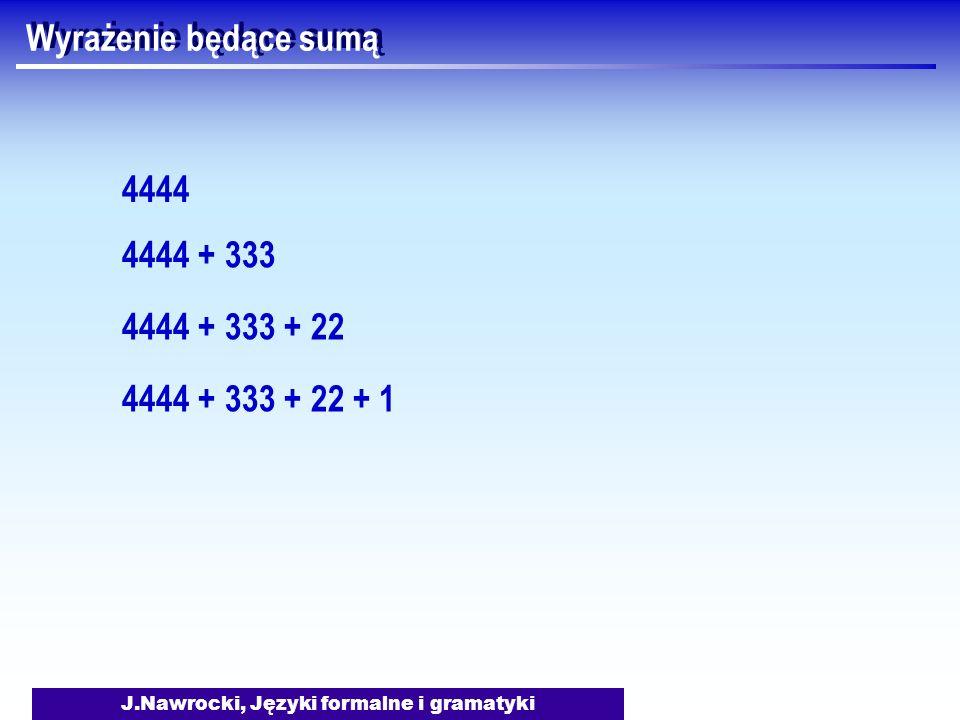 J.Nawrocki, Języki formalne i gramatyki Wyrażenie będące sumą 4444 4444 + 333 4444 + 333 + 22 4444 + 333 + 22 + 1
