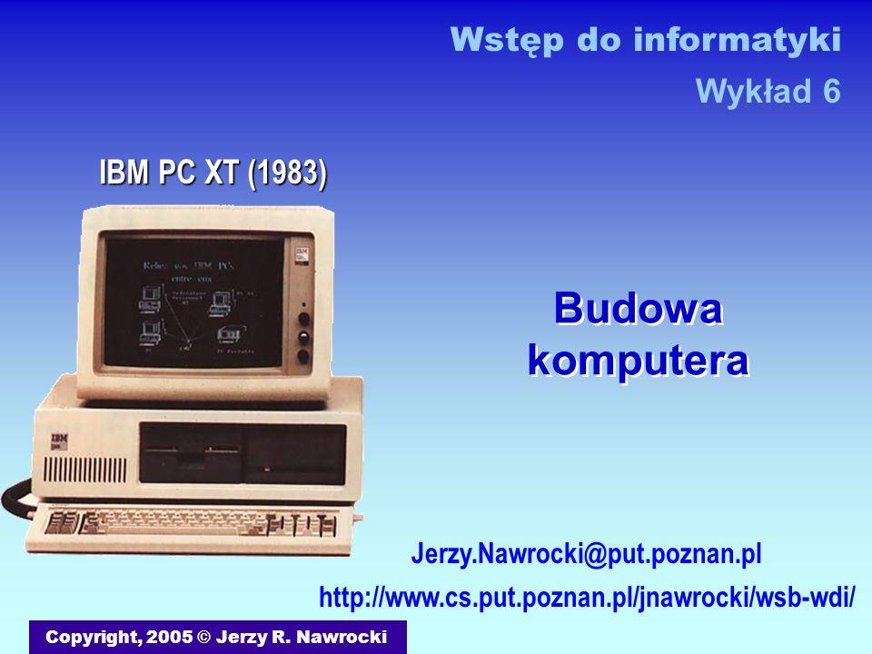 J.Nawrocki, Budowa komputera Sumator 4-bitowy Półsumator Sumator 1 A0A0 B0B0 S0S0 C0C0 A1A1 B1B1 S1S1 C1C1 C0C0 Sumator 2 A2A2 B2B2 S2S2 C2C2 C1C1 Sumator 3 A3A3 B3B3 S3S3 C3C3C3C3 C2C2C2C2 0 1 1 1 0 0 1 1+ 1 1 1 0 A = 7 (0 + 4 + 2 + 1) B = 3 (0 + 0 + 2 + 1) S = 10 (8 + 0 + 2 + 0) C (Carry – przeniesienie)