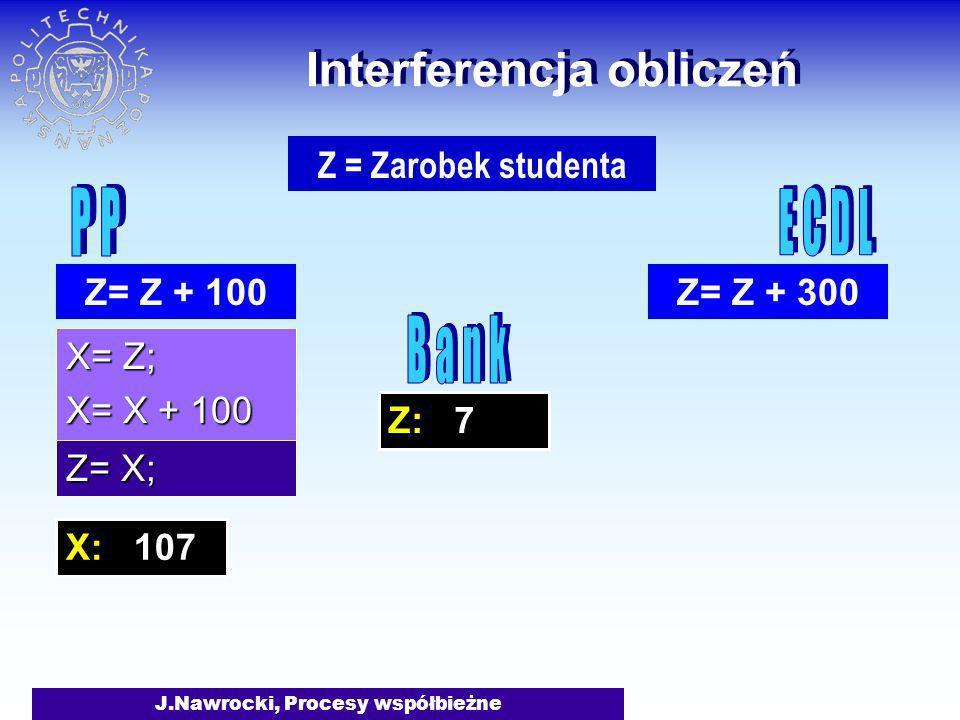J.Nawrocki, Procesy współbieżne Z: 7 Interferencja obliczeń X= Z; X= X + 100 Z= Z + 300 Z = Zarobek studenta Z= Z + 100 Z= X; X: 107