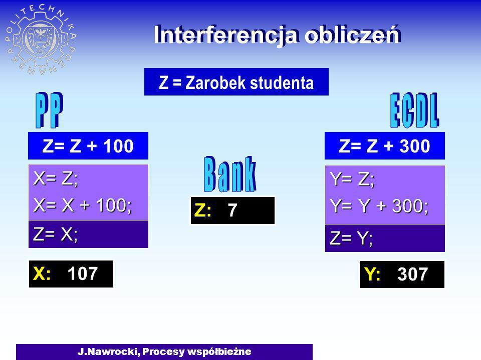J.Nawrocki, Procesy współbieżne Z: 7 Interferencja obliczeń X= Z; X= X + 100; Y= Z; Y= Y + 300; Z= Z + 300 Z = Zarobek studenta Z= Z + 100 Z= Y; Z= X;