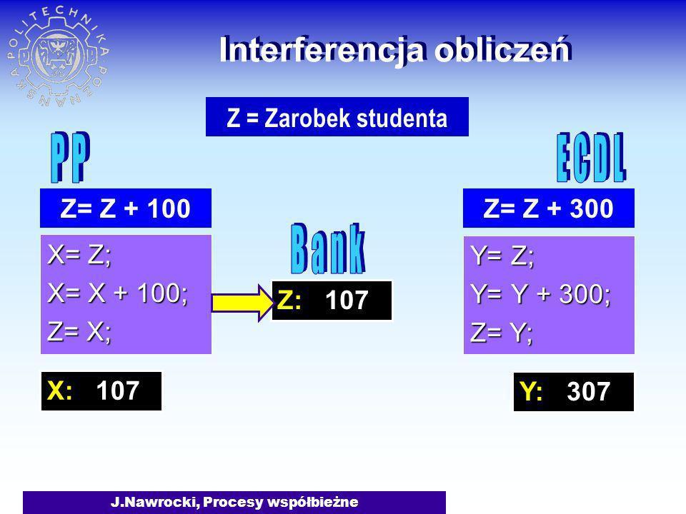 J.Nawrocki, Procesy współbieżne Z: 107 Interferencja obliczeń X= Z; X= X + 100; Z= X; Y= Z; Y= Y + 300; Z= Y; Z= Z + 300 Z = Zarobek studenta Z= Z + 1