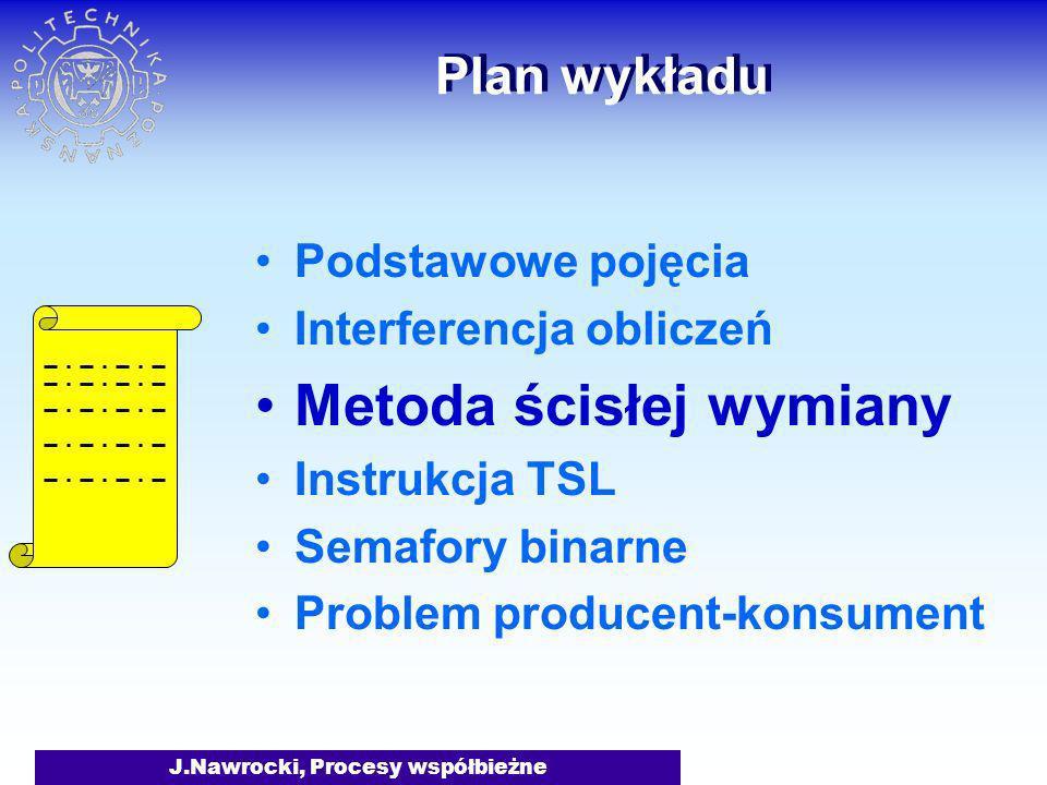 J.Nawrocki, Procesy współbieżne Plan wykładu Podstawowe pojęcia Interferencja obliczeń Metoda ścisłej wymiany Instrukcja TSL Semafory binarne Problem producent-konsument