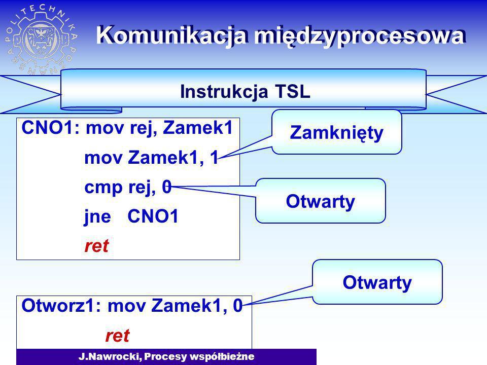 J.Nawrocki, Procesy współbieżne Otworz1: mov Zamek1, 0 ret CNO1: mov rej, Zamek1 mov Zamek1, 1 cmp rej, 0 jne CNO1 ret Komunikacja międzyprocesowa Ins