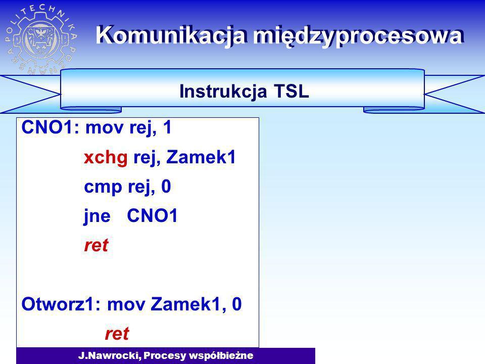 J.Nawrocki, Procesy współbieżne CNO1: mov rej, 1 xchg rej, Zamek1 cmp rej, 0 jne CNO1 ret Otworz1: mov Zamek1, 0 ret Komunikacja międzyprocesowa Instr