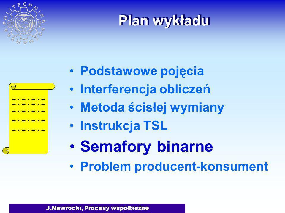 J.Nawrocki, Procesy współbieżne Plan wykładu Podstawowe pojęcia Interferencja obliczeń Metoda ścisłej wymiany Instrukcja TSL Semafory binarne Problem