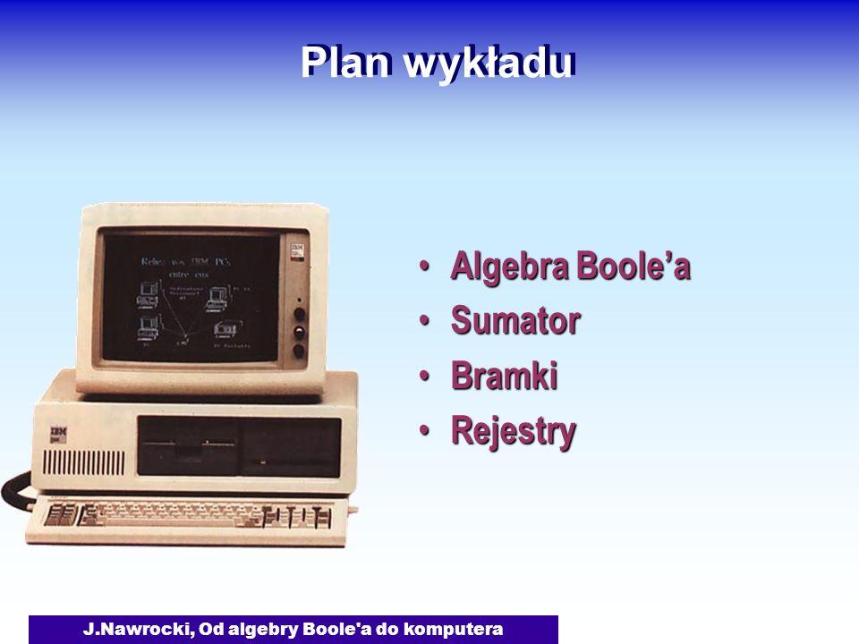 J.Nawrocki, Od algebry Boole a do komputera Plan wykładu Algebra Boolea Algebra Boolea Sumator Sumator Bramki Bramki Rejestry Rejestry