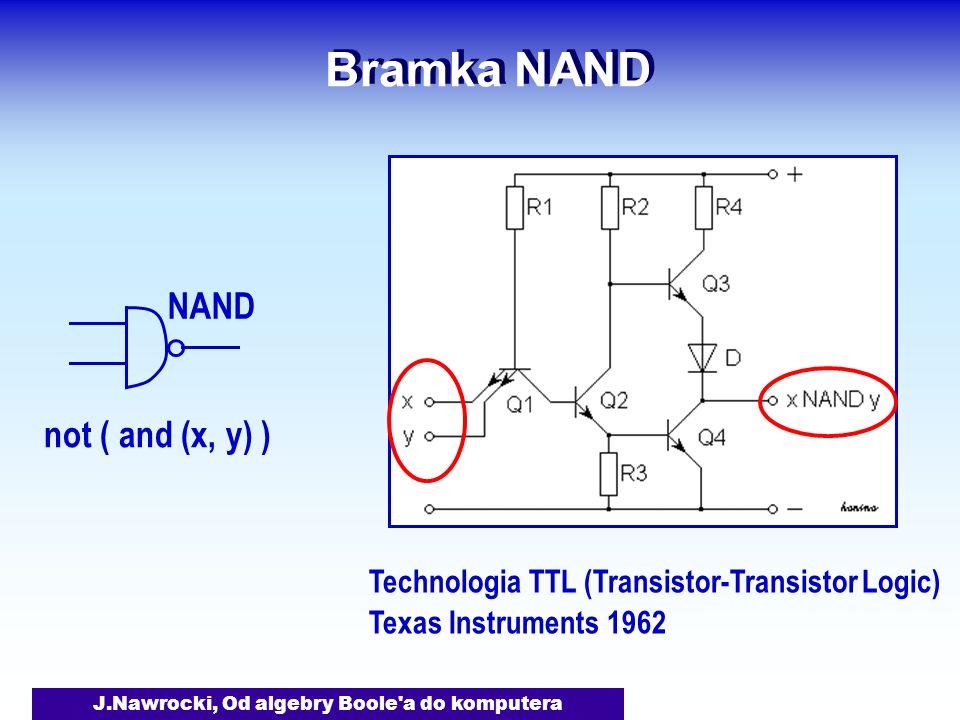 J.Nawrocki, Od algebry Boole a do komputera Bramka NAND Technologia TTL (Transistor-Transistor Logic) Texas Instruments 1962 NAND not ( and (x, y) )