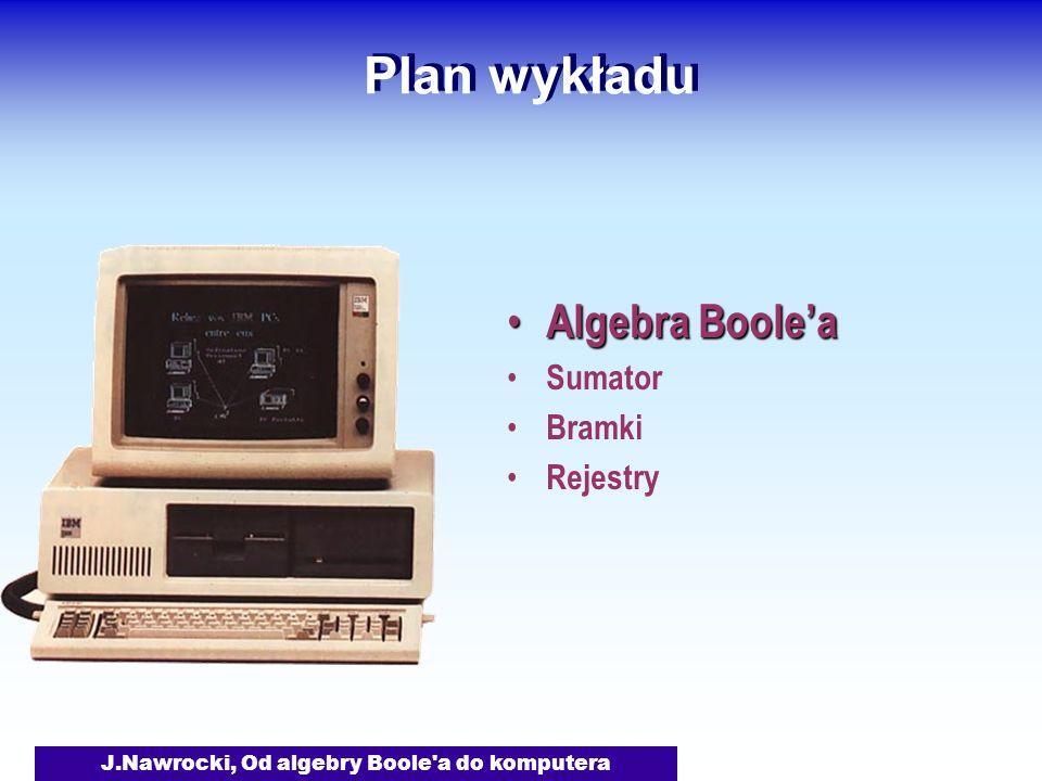 J.Nawrocki, Od algebry Boole a do komputera Plan wykładu Algebra Boolea Sumator Bramki Rejestry Rejestry