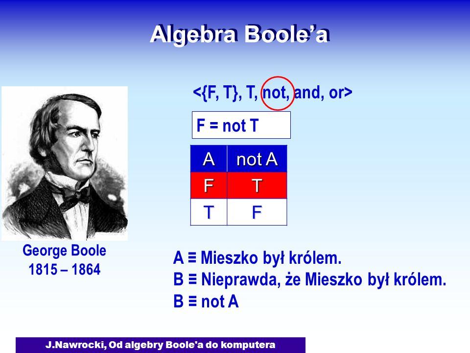 J.Nawrocki, Od algebry Boole a do komputera Algebra Boolea George Boole 1815 – 1864 F = not TA not A FT TF A Mieszko był królem.