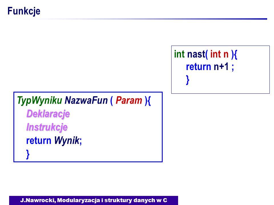J.Nawrocki, Modularyzacja i struktury danych w C Funkcje TypWyniku NazwaFun ( Param ){ Deklaracje Instrukcje Instrukcje return Wynik ; } int nast( int n ){ return n+1 ; }