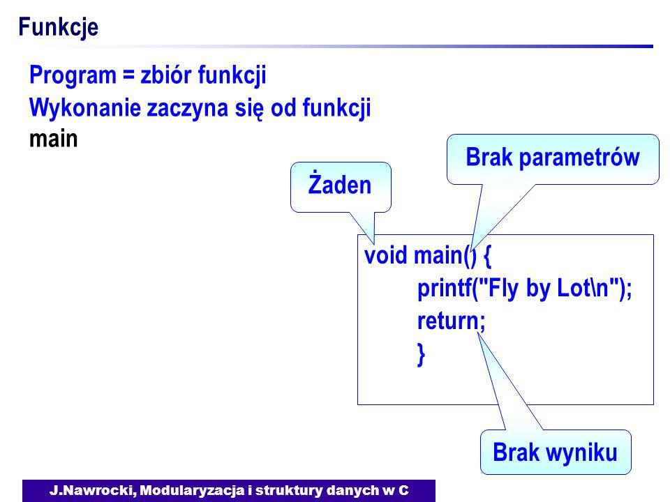 J.Nawrocki, Modularyzacja i struktury danych w C Funkcje void main() { printf( Fly by Lot\n ); return; } Żaden Brak parametrów Brak wyniku Program = zbiór funkcji Wykonanie zaczyna się od funkcji main
