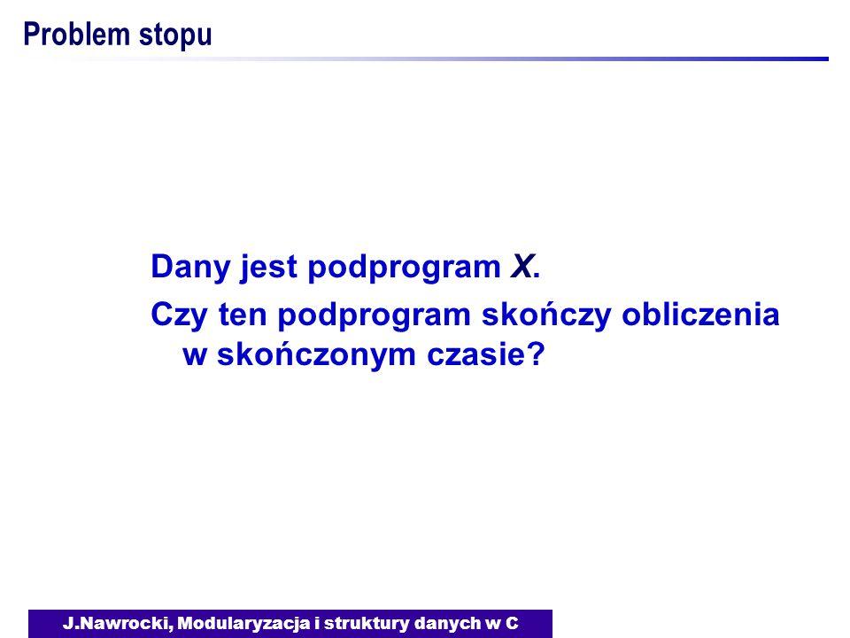 J.Nawrocki, Modularyzacja i struktury danych w C Problem stopu Dany jest podprogram X. Czy ten podprogram skończy obliczenia w skończonym czasie?