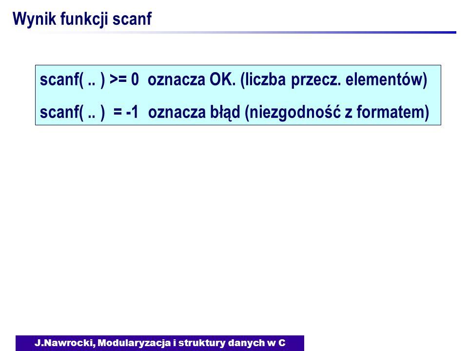 J.Nawrocki, Modularyzacja i struktury danych w C Wynik funkcji scanf scanf(.. ) >= 0 oznacza OK. (liczba przecz. elementów) scanf(.. ) = -1 oznacza bł