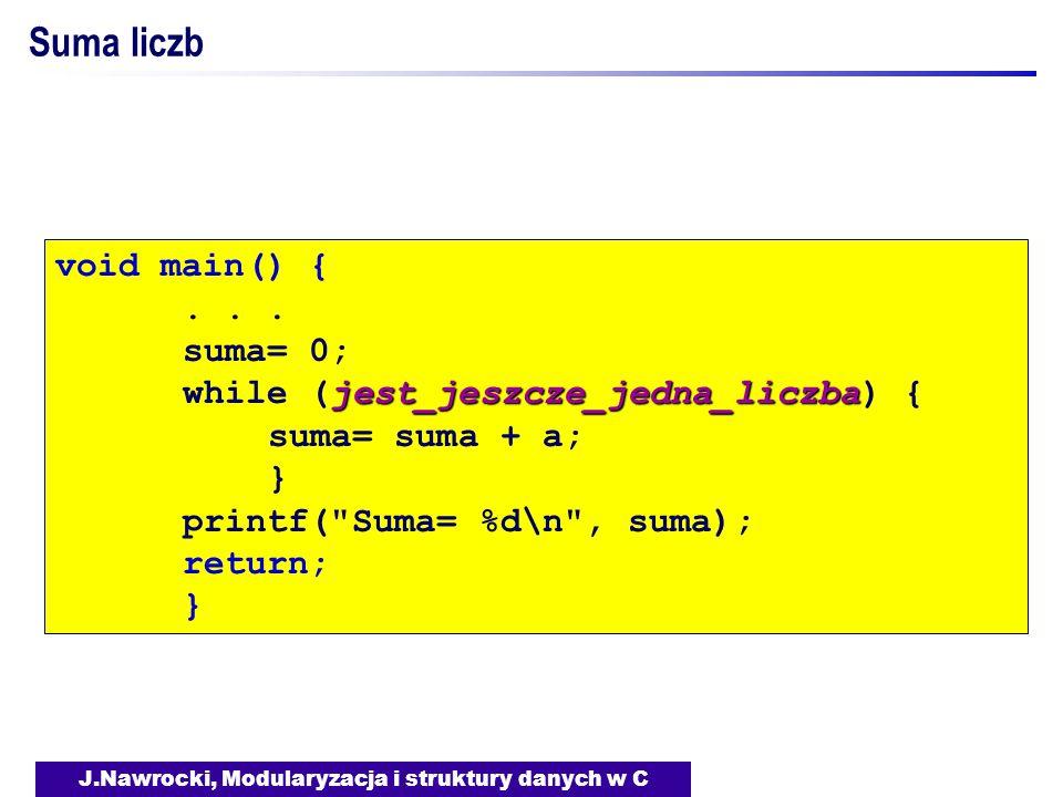 J.Nawrocki, Modularyzacja i struktury danych w C Suma liczb void main() {... suma= 0; jest_jeszcze_jedna_liczba while (jest_jeszcze_jedna_liczba) { su