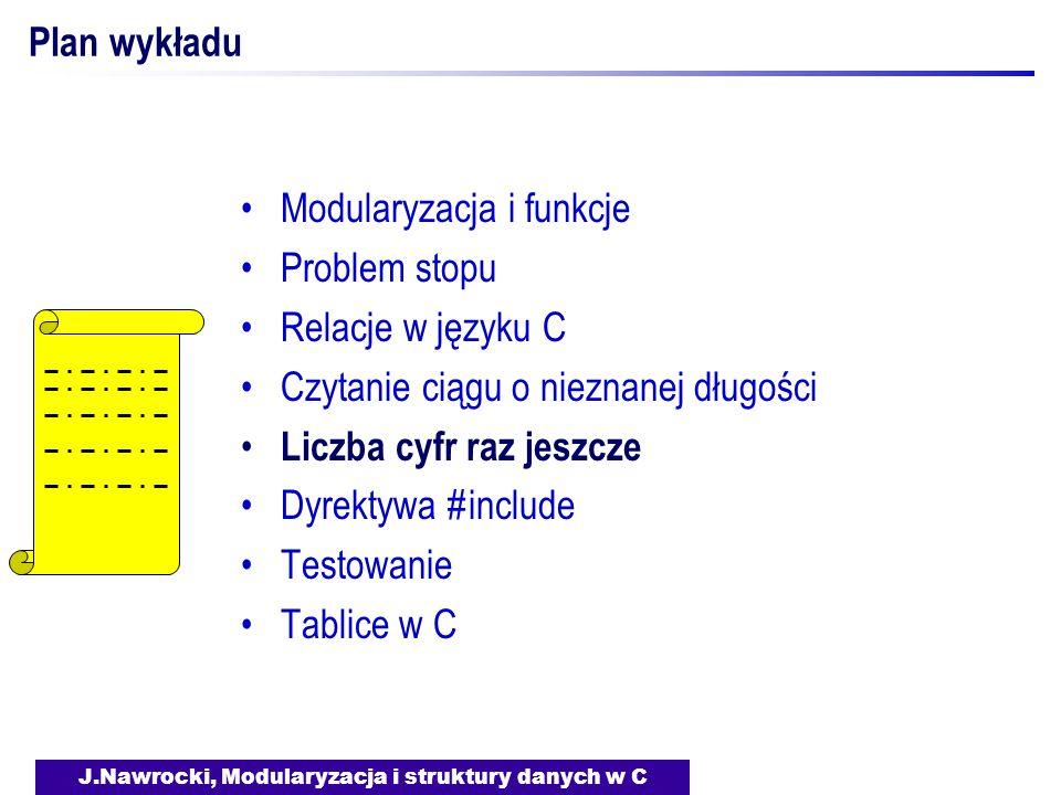 J.Nawrocki, Modularyzacja i struktury danych w C Plan wykładu Modularyzacja i funkcje Problem stopu Relacje w języku C Czytanie ciągu o nieznanej dług